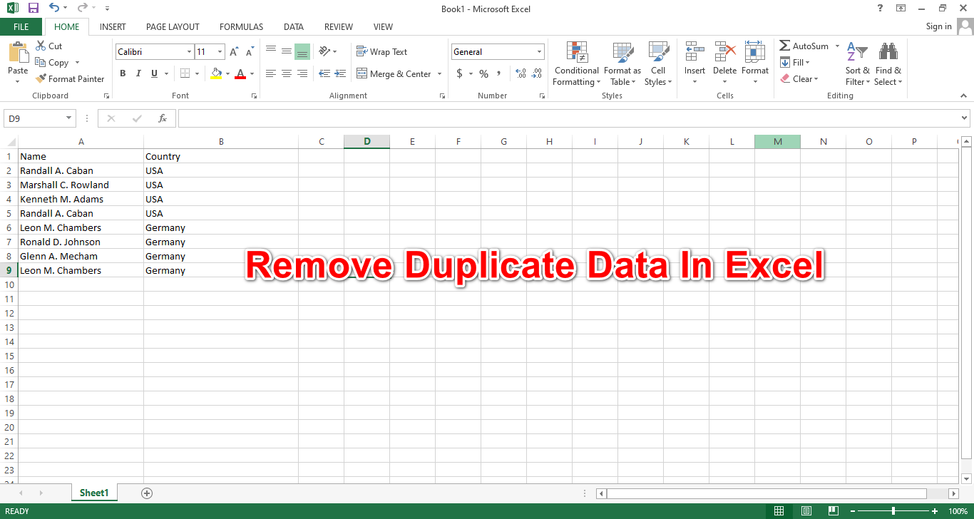 How To Remove Duplicate Data In Excel