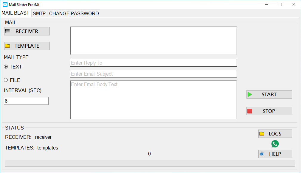 how to configure mail blaster pro